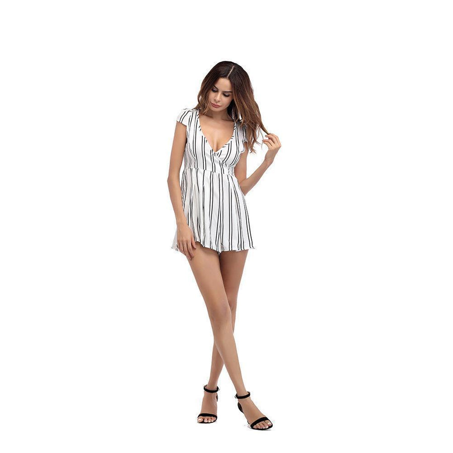 Sexy Stripe Deep V Neck Rompers