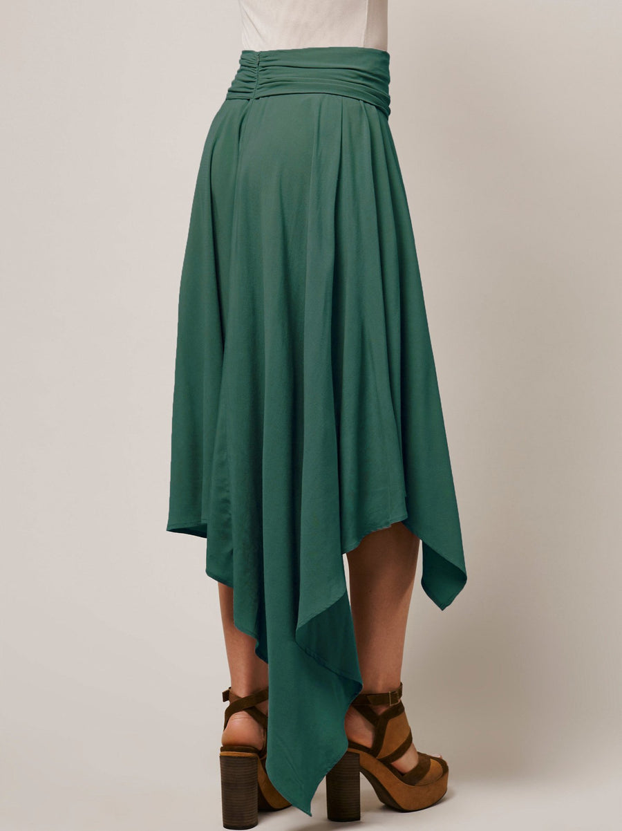 Solid colour Cotton Irregular Hem medium length dress