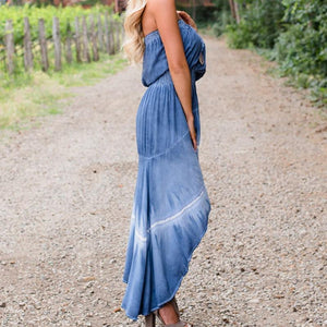 Strapless Waisted Irregular Summer Maxi Dress