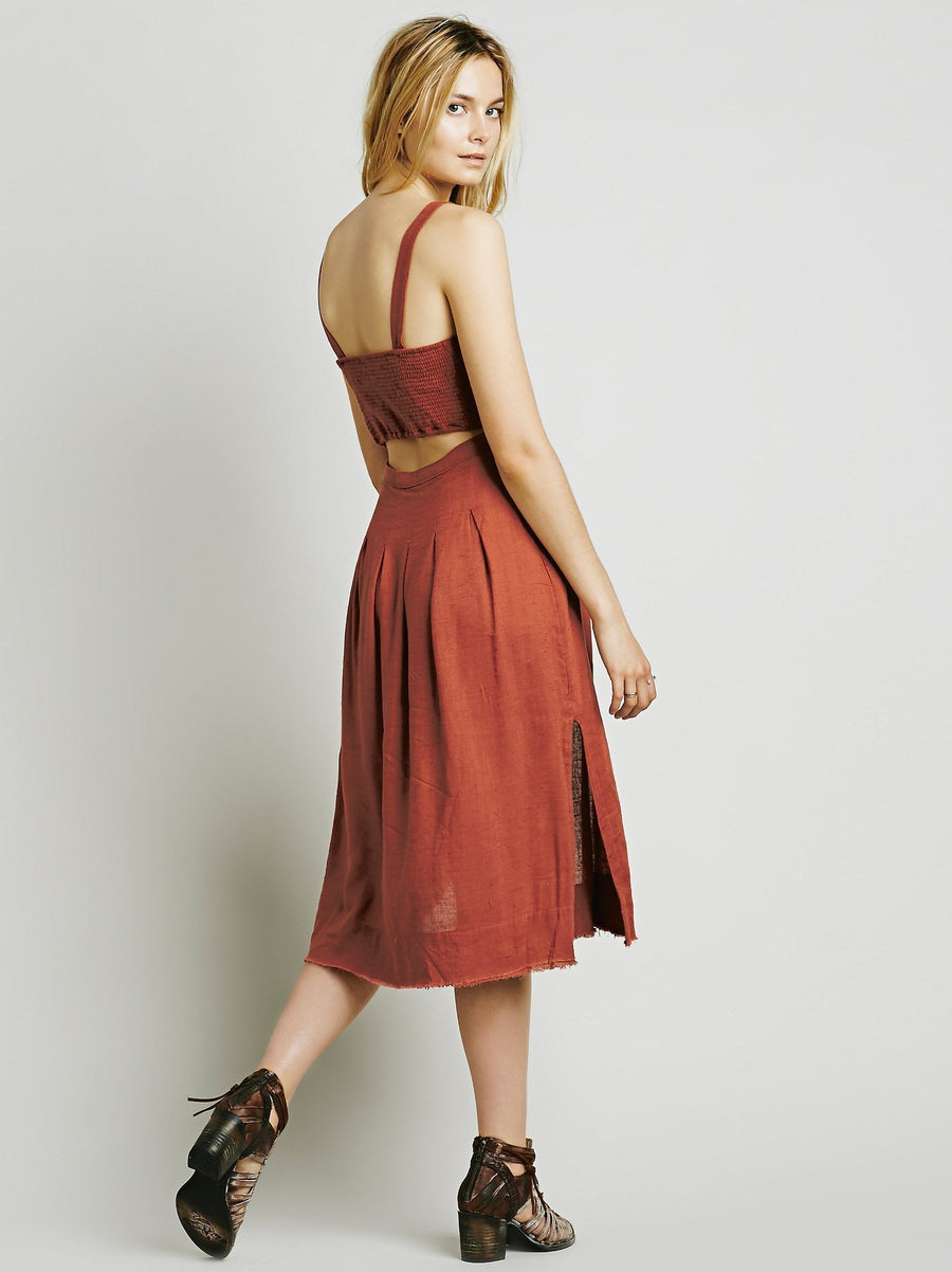Two Solid Color Long strap back halter dress