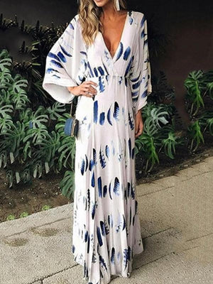 Stylish Feathers Printed Long Sleeve V-neck Summer Maxi Dress