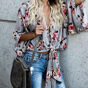 Simple Design Loose Mid-Sleeve Floral Blouse Tops