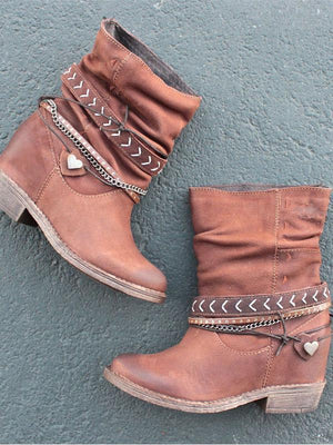 Solid Color Slouch Buckle Low Heel Calf Boots