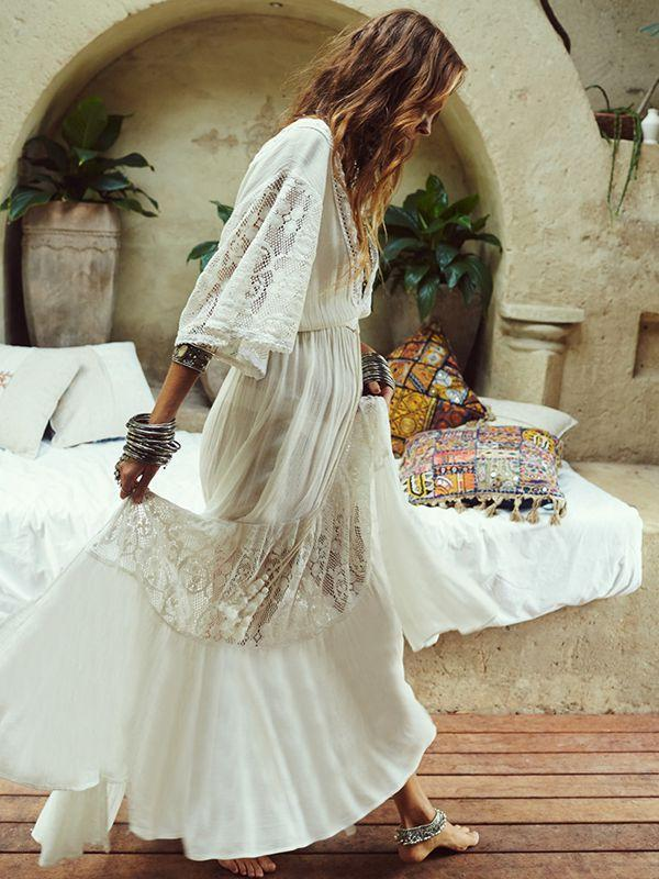 Spring And Summer Bohemian V-Neck High Waist Lace Stitching Big Swing Dress