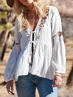 Bohemian Summer Lantern Sleeves V-Neck Lace Embroidery Top