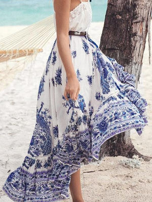 Bohemian Tribal Floral Skirt Knee Lengt Summer Beach Long Casual Skirt