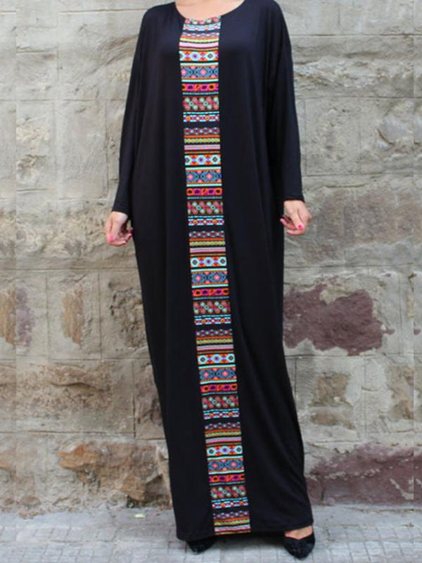 Casual Print Long Robe Gowns Long Sleeve Maxi Dress