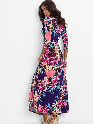 Waisted V-neck Printed Maxi Dress