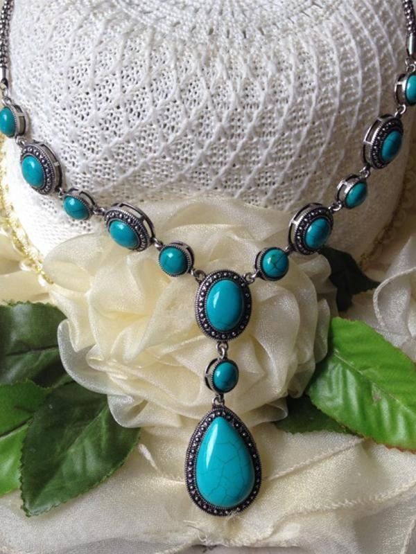 Boho Water Drop Pattern Turquoise Alloy Chain Necklace - Voguetide