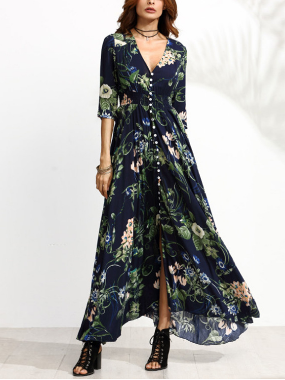 Women Single-Breasted Mid Sleeves Printed Maxi Dress