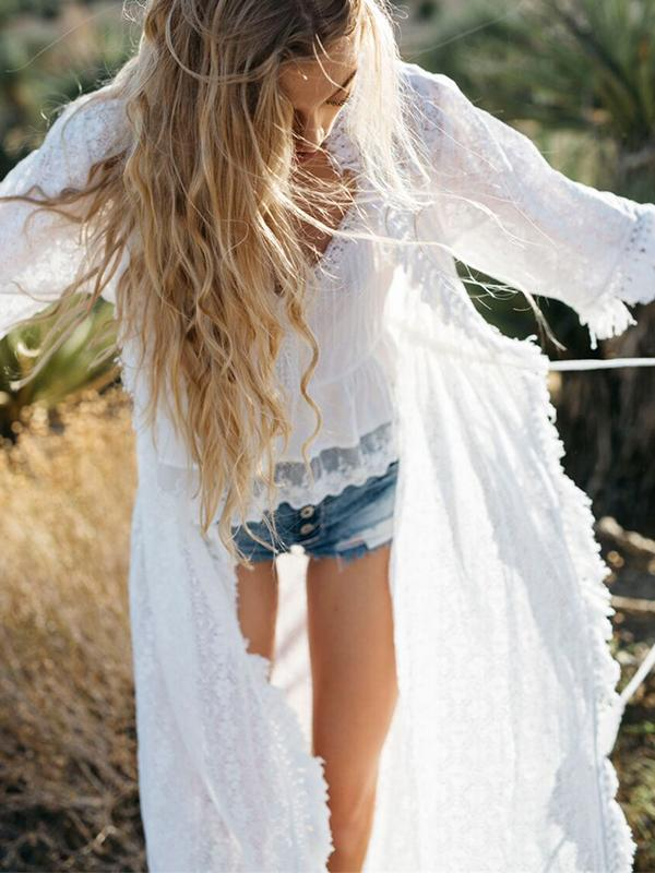Boho White See-through Lace Cardigan Beach Cover up