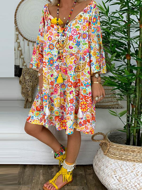 Casual Boho Beach V Neck Floral Print Loose Plus Size Midi Dress