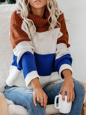 Casual Loose Colorblock Turtleneck Winter Sweater