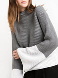 Simple Split-joint Flared Sleeves Sweater Tops