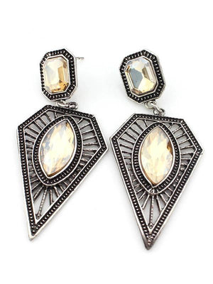 Bohemian Vintage Ethnic Earrings Triangle Water Drops Gemstone Earrings - Voguetide