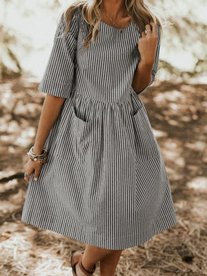 Casual Loose O Neck Half Sleeve Pockets Striped Midi Dress Sundress