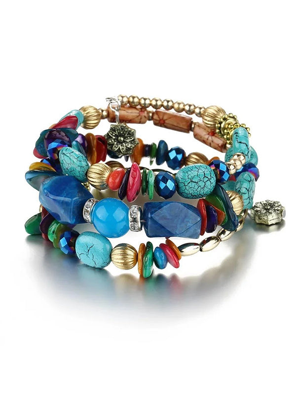 Bohemian Colorful Stone Long Bracelet Multilayer Rhinestone Bead Bracelet for Women Men - Voguetide