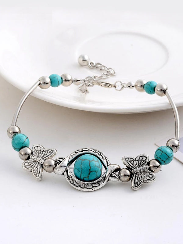 Vintage Charming Tibetan Silver Chain Butterfly round Blue Stone beads bracelet jewelry