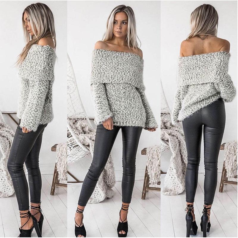 Knit Off Shoulder Long Sleeve Tops Sweater