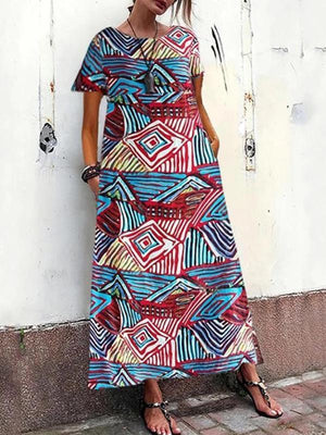 Loose Casual Round Neck Short Sleeve Printed Colour Maxi Dress