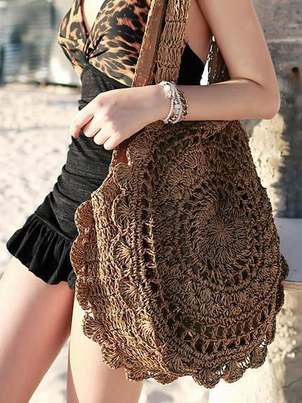 Exquisite Retro Women Hollowed Round Straw Weaving Bag - Voguetide