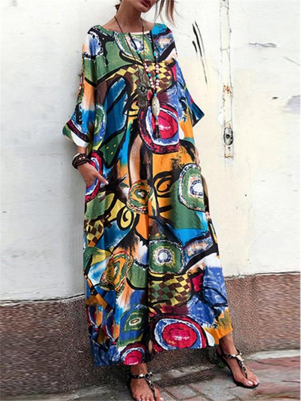 Stylish Geometric Multicolor Print Round-neck Maxi Tunic Dress
