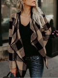 Stylish Plaid Lapel Cardigan Short Coat