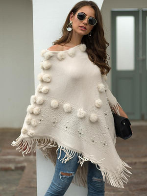 Comfy Fuzzy Ball Tasseled Cape Sweater Tops