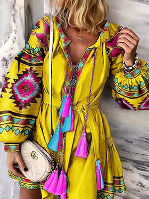 Casual Geometric Color Block Print Lantern Sleeve Tassels Summer Mini Dress