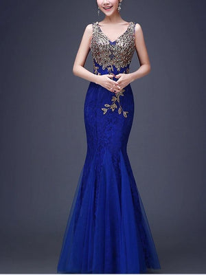 V Neck Sleeveless Evening Gown Maxi Dress