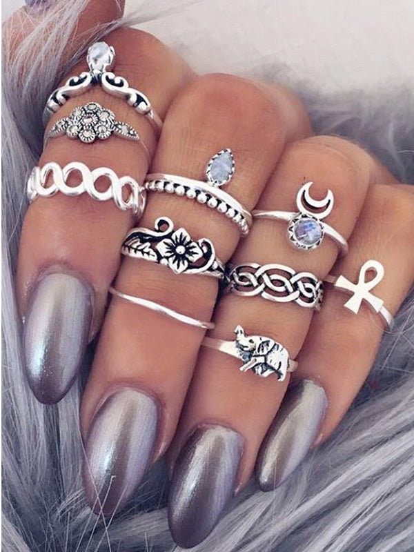 10 pcs BOHO ring set statement style bohemia party - Voguetide