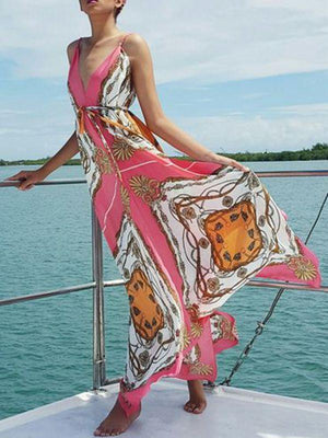 Printed Sling V-Neck Dress Bohemian Holiday Dress