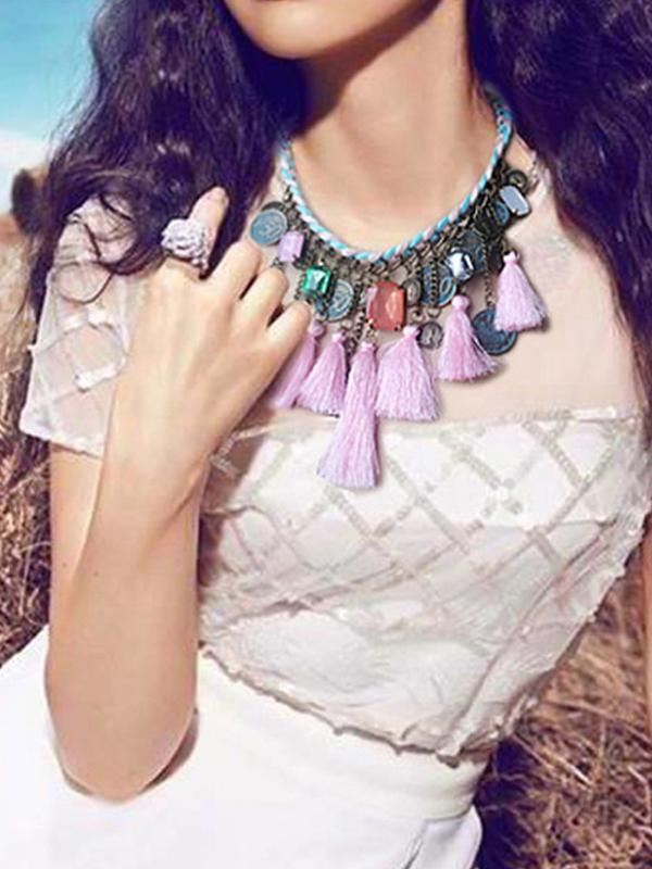 Bohemian Colorful Tassels Necklace Ethnic Coins Choker - Voguetide