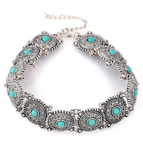 Europe Personality Short Paragraph Retro Turquoise Necklace - Voguetide