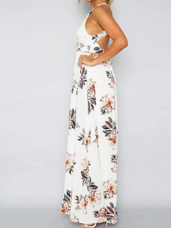 Sleeveless Polyester Halter Neck Floral Print Maxi Day Going Out Dress