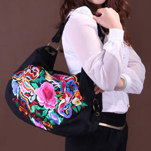 National Vintage Canvas Ethnic Style Floral Embroidery Shoulder Bags