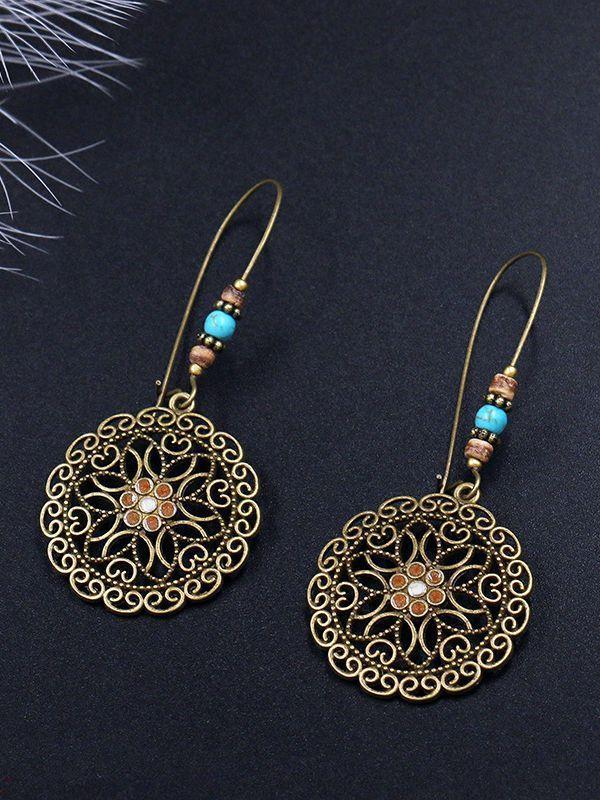 Bohemian Retro Long Hollow Flower Earrings - Voguetide