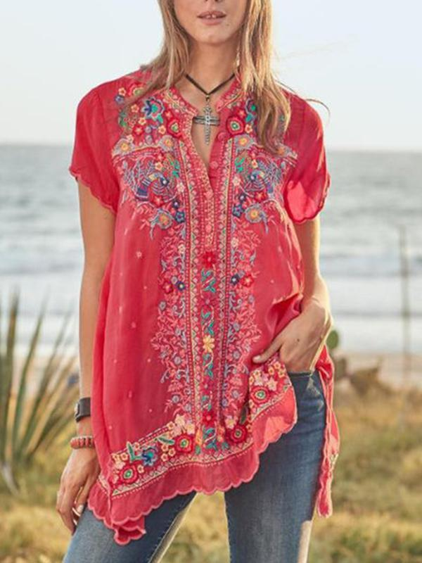 Casual Floral Embroidery V-Neckline Short Sleeve Cotton Blouses Tops