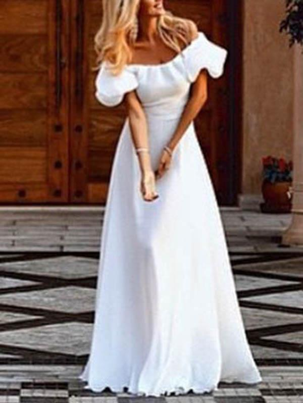 White Off Shoulder Evening Party Maxi Dress