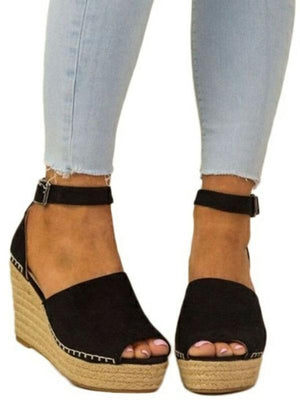 Open Toe Strappy High Heel Wedge Sandals
