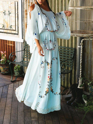 V-neck Color Embroidery Long Sleeve Bohemian Maxi Long Dress
