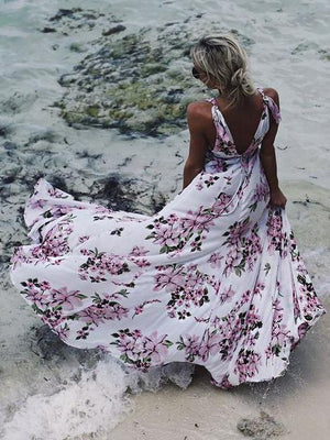 Flower Print Sleeveless Beach Boho Maxi Dress