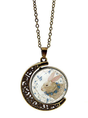 Easter Bunny Double-sided Rotation Necklace Jewelry - Voguetide