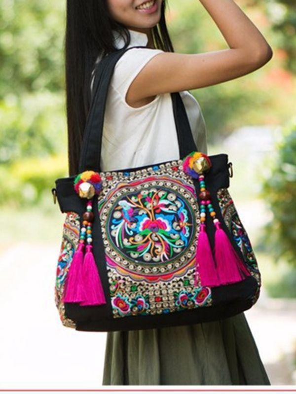 Ethnic Style Embroidery Versatile Canvas Oblique Tassel Shoulder Bag - Voguetide