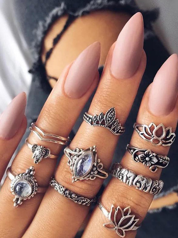 10 Pcs Vintage Opal Stone Lotus Antique Boho Knuckle Rings - Voguetide