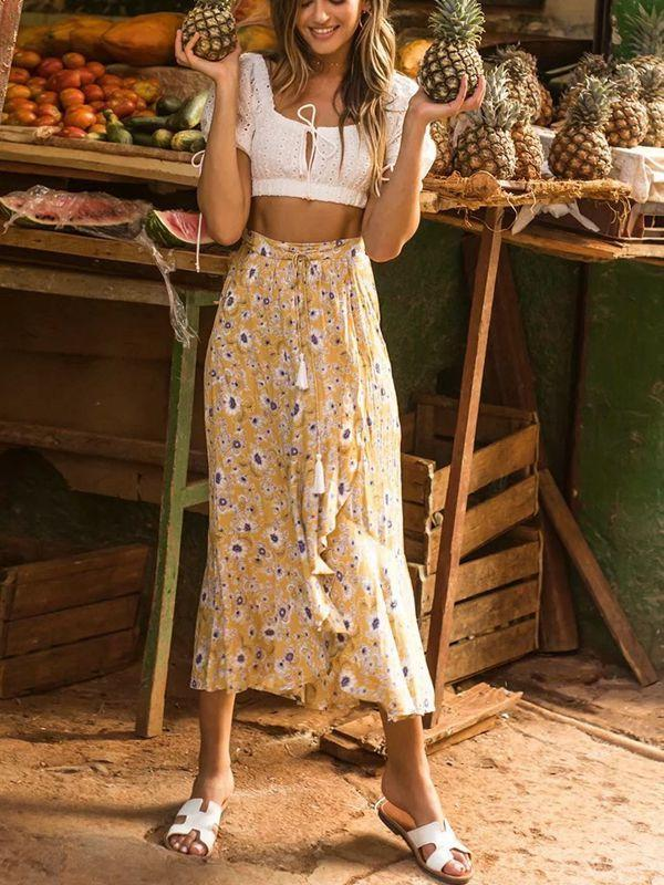 Vacation Beach Bohemian Print Split Fork Wild Big Swing Skirt