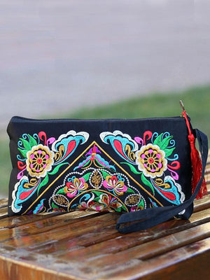 Ethnic Style Tassel Floral Double-Sided Embroidery Portable Bags - Voguetide