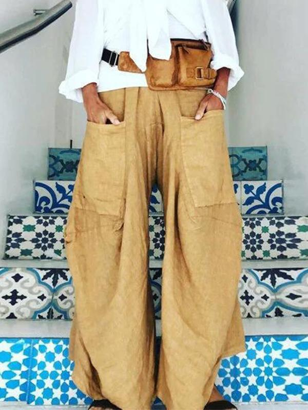 Casual Loose Solid Color Plus Size Pants