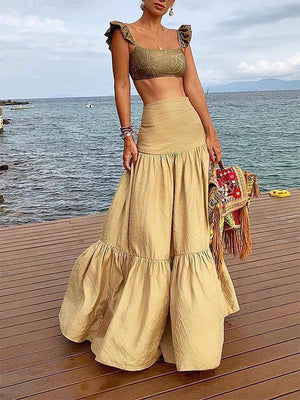 Stylish Solid Color Pleated Splicing Pure Colour High-Waist Skirt