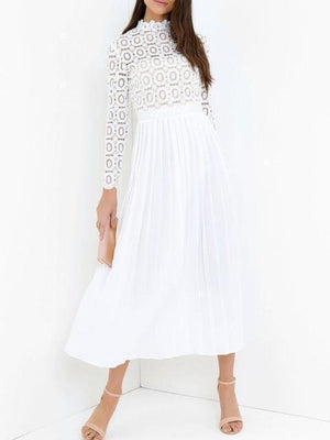 White Lace Splice Long Sleeve Maxi Dress